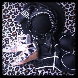 Black with white trim monokini